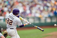 LSU Tigers catcher Kade Scivicque (22) swings the bat against the TCU Horned Frogs in the NCAA College World Series on June 14, 2015 at TD Ameritrade Park in Omaha, Nebraska. TCU defeated LSU 10-3. (Andrew Woolley/Four Seam Images)
