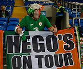 9th October 2017, Cardiff City Stadium, Cardiff, Wales; FIFA World Cup Qualification, Wales versus Republic of Ireland; Republic of Ireland supporters get their flags organised at the Cardiff City Stadium