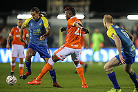 Blackpool's Armand Gnanduillet competing with Solihull Moors' Darren Carter<br /> <br /> Photographer Andrew Kearns/CameraSport<br /> <br /> The Emirates FA Cup Second Round - Solihull Moors v Blackpool - Friday 30th November 2018 - Damson Park - Solihull<br />  <br /> World Copyright © 2018 CameraSport. All rights reserved. 43 Linden Ave. Countesthorpe. Leicester. England. LE8 5PG - Tel: +44 (0) 116 277 4147 - admin@camerasport.com - www.camerasport.com