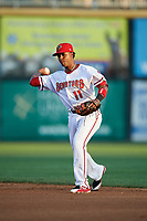 Harrisburg Senators second baseman Osvaldo Abreu (11) throws to first base during a game against the Erie SeaWolves on August 29, 2018 at FNB Field in Harrisburg, Pennsylvania.  Harrisburg defeated Erie 5-4.  (Mike Janes/Four Seam Images)