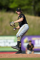 Bristol Pirates starting pitcher Shane Baz (10) in action against the Danville Braves at American Legion Post 325 Field on July 1, 2018 in Danville, Virginia. The Braves defeated the Pirates 3-2 in 10 innings. (Brian Westerholt/Four Seam Images)
