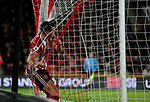 John Egan of Sheffield Utd crashes through net during the Premier League match at Bramall Lane, Sheffield. Picture date: 10th January 2020. Picture credit should read: Chloe Hudson/Sportimage