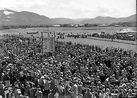 Killarney Races July 1964. Note outside track hurdy gurdys and the 'cheap seats'.<br /> Picture by Donal MacMonagle