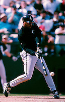 Albert Belle of the Chicago White Sox participates in a Major League Baseball Spring Training game during the 1998 season in Phoenix, Arizona. (Larry Goren/Four Seam Images)
