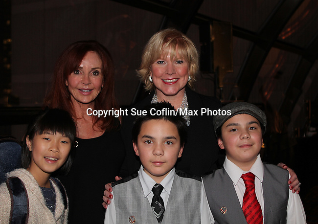 """General Hospital Jacklyn Zeman """"Bobbie Spencer"""" poses with singer Missy Keene and Maggie Chang, Emilie & Reynard Gagnon (the 3 Potatoes - violin, piano and Bass). Jackie is honorary chair of The 29th Annual Jane Elissa Extravaganza which benefits The Jane Elissa Charitable Fund for Leukemia & Lymphoma Cancer, Broadway Cares and other charities on November 14, 2016 at the New York Marriott Hotel, New York City presented by Bridgehampton National Bank and Walgreens.  (Photo by Sue Coflin/Max Photos)"""