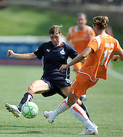 Washington Freedom midfielder Rebecca Moros (19) and Skuyblue FC defender Keeley Dowling (17).  The Skyblue FC defeated the Washington Freedom 2-1 in first round of WPS playoffs at the Maryland Soccerplex, Saturday, August 15, 2009.
