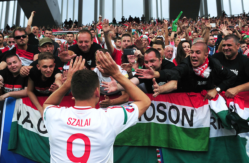 Hungary's Adam Szalai celebrates with fans after his sides 2-0 win over Austria<br /> <br /> Photographer Kevin Barnes/CameraSport<br /> <br /> International Football - 2016 UEFA European Championship -  Group F - Austria v Hungary - Tuesday 14th June 2016 - Stade de Bordeaux, Bordeaux, France<br /> <br /> World Copyright &copy; 2016 CameraSport. All rights reserved. 43 Linden Ave. Countesthorpe. Leicester. England. LE8 5PG - Tel: +44 (0) 116 277 4147 - admin@camerasport.com - www.camerasport.com
