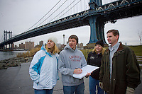 Students of Professor David Veshosky and Art Kney's civil engineering walk next to the buildings that they are going to create plans for redoing. Here from left  students Becca Nickerson and Jason Urton talk with Lafayette Alums ( who are  involved with the project and are also both structural engineers). Cheryl Rishcoff '00 and Chris Dlechschmidt '97 in Brooklyn Bridge Park..4231.