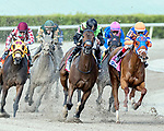 HALLANDALE BEACH, FL - JAN 27:Jordan's Henny #2 (green & gold, 2nd from left) with Tyler Gaffalione in the irons for trainer Michael A. Tomlinson trails the field along the final turn yet wins the $175,000 Hurricane Bertie Stakes (G3) at Gulfstream Park on January 27, 2018 in Hallandale Beach, Florida. (Photo by Bob Aaron/Eclipse Sportswire/Getty Images)