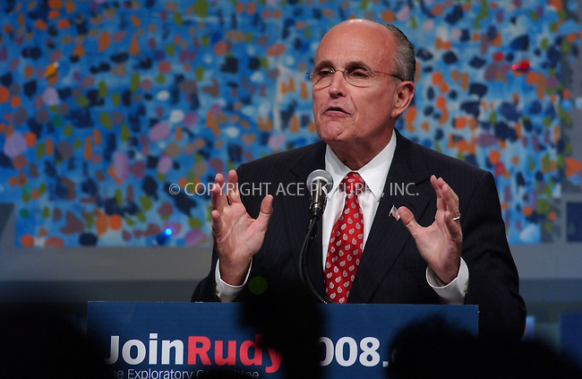 """WWW.ACEPIXS.COM . . . . .....March 14 2007, New York City....Former New York City Mayor and presidential hopeful Rudy Giuliani speaking at the """"JoinRudy2008"""" Presidential Exploratory Committee rally and fundraiser at the Sheraton New York.....  ....Please byline: Kristin Callahan - ACEPIXS.COM..... *** ***..Ace Pictures, Inc:  ..Philip Vaughan (646) 769 0430..e-mail: info@acepixs.com..web: http://www.acepixs.com"""