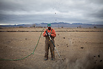 LOVELOCK, NV - JANUARY 29, 2014: Rancher Anthony Moura ignited propane pumped into pocket gopher holes to kill the gophers that kill the alfalfa on his ranch. Normally, Moura floods his fields to irrigate and eliminate the pocket gophers, but with drought conditions, he's trying other options and expects to receive none of his expected water allotment. CREDIT: Max Whittaker for The New York Times