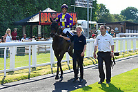 Winner of The Shadwell Stud Racing Excellence Apprentice Handicap, Ashazuri ridden by Jean-Louis Jamin and trained by Jonathan Portman are led into the winners enclosure during Father's Day Racing at Salisbury Racecourse on 18th June 2017