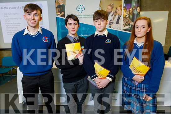 Gearoid Quilter (Causeway Comprehensive), Peadar Claro (Gaelcolaiste Ciarraí), Darragh Devlin (Colaiste na Sceilge) and Jessica Kenny (Causeway Comp) attending the Kerry ETB Student Awards ceremony in the IT Tralee on Friday night