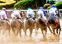 CHARLES TOWN, WV - APRIL 22: As the rain pours, the field splashes around the clubhouse turn in the Original Gold Stakes on Charles Town Classic Day at Charles Town Races and Slots on April 22, 2017 in Charles Town, West Virginia (Photo by Scott Serio/Eclipse Sportswire/Getty Images)
