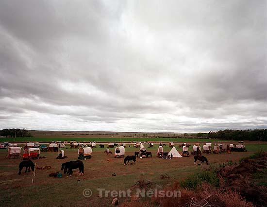 Wagons circled at the Mormon Trail Wagon Train camp at the Rush Creek Ranch, Lisco.<br />
