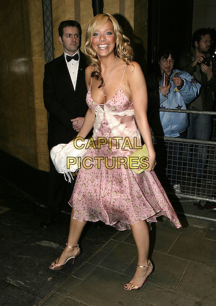 LIZ McCLARNON.UK FIFI  Awards for the Fragrance Industry,.The Dorchester Hotel, London, .April 25th 2005..full length pink flower floral pattern print girly dress wrap shawl pashmina green bag clutch.Ref: AH.www.capitalpictures.com.sales@capitalpictures.com.©Adam Houghton/Capital Pictures.
