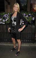 Sally Bercow.attended the Kensington Club new boutique nightclub launch party, The Kensington Club, High Street Kensington, London, England,.20th July 2012..full length black bustier dress jacket blazer hand on hip peep open toe shoes .CAP/CAN.©Can Nguyen/Capital Pictures.