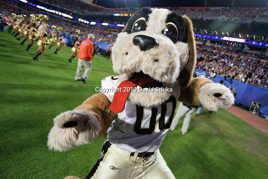 The New Orleans Saints mascot Gumbo cheers during the NFL Super Bowl XLIV football game against the Indianapolis Colts in Miami, Sunday, February 7, 2010. The Saints won 31-17. (AP Photo/David Stluka)