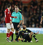 Diego Costa of Chelsea asks why of Marten de Roon of Middlesbrough following a tackle on him during the English Premier League match at the Riverside Stadium, Middlesbrough. Picture date: November 20th, 2016. Pic Simon Bellis/Sportimage