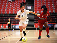 TJ Lyne-Lewis in action during the international women's futsal match between the NZ Futsal Ferns and New Caledonia at Baypark Arena in Mount Maunganui, New Zealand on Thursday, 14 September 2017. Photo: Dave Lintott / lintottphoto.co.nz