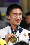 Kento Momota (JPN), <br /> AUGUST 22, 2018 - Badminton : Men's Team Victory ceremony at Gelora Bung Karno Istora <br /> during the 2018 Jakarta Palembang Asian Games <br /> in Jakarta, Indonesia. <br /> (Photo by MATSUO.K/AFLO SPORT)