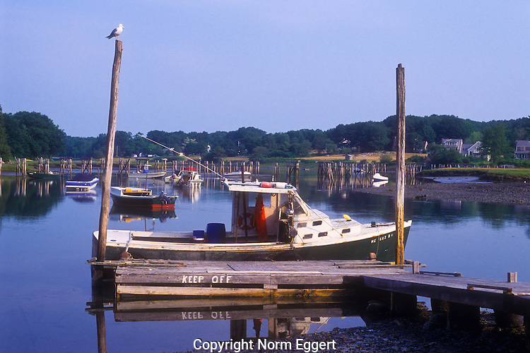 Boat moored at Ogunquit Harbor, Maine