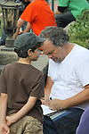 Vincent D'Onofrio (Guiding Light & Law & Order Criminal Intent signs script of Crackers for young costar Vincent Mora (Luke)- an Independent Short Film which is a dark comedy about an Italian chef Gus (Vincent D'Onofrio) and his wife Cat who life is turned upside down by his mother-in-law Bidelia as it is filmed in South Amboy, New Jersey. These photos were taken on Sept. 16 and 17, 2010 on set. (Photo by Sue Coflin/Max Photos)