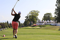 Angela Stanford (USA) tees off the par3 16th tee during Thursday's Round 1 of The Evian Championship 2018, held at the Evian Resort Golf Club, Evian-les-Bains, France. 13th September 2018.<br /> Picture: Eoin Clarke | Golffile<br /> <br /> <br /> All photos usage must carry mandatory copyright credit (© Golffile | Eoin Clarke)