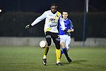 2018-02-17 / Voetbal / Seizoen 2017-2018 / Nijlen - Esp Pelt / Junior Ebobo met Jef Luyten (r. Nijlen)<br /> <br /> ,Foto: Mpics.be
