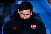 5th December 2017, Camp Nou, Barcelona, Spain; UEFA Champions League football, FC Barcelona versus Sporting Lisbon; Leo Messi of FC Barcelona during the UEFA anthem