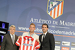 Atletico de Madrid's new player Toby Alderweireld with the President Enrique Cerezo (l) and the General Manager Jose Luis Perez Caminero (r) during his official presentation. September 10, 2013. (ALTERPHOTOS/Acero)
