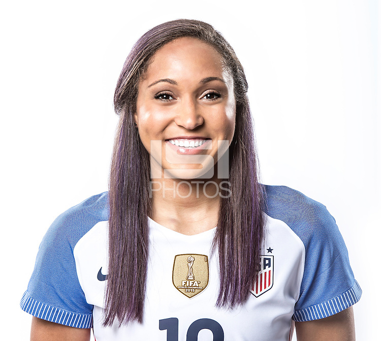 Orlando, FL. - April 1, 2016: The U.S. Women's national team head shots in new NIKE home & away kits.