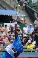 MELBOURNE, 12 JANUARY - Gael Monfils (FRA) hits a serve in a match against Fernando Verdasco (ESP) on day one of the 2011 AAMI Classic at Kooyong Tennis Club in Melbourne, Australia. (Photo Sydney Low / syd-low.com)