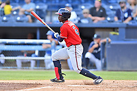 Rome Braves Michael Harris (2) swings at a pitch during  game against the Asheville Tourists at McCormick Field on August 13, 2019 in Asheville, North Carolina. The Braves defeated the Tourists 13-8. (Tony Farlow/Four Seam Images)