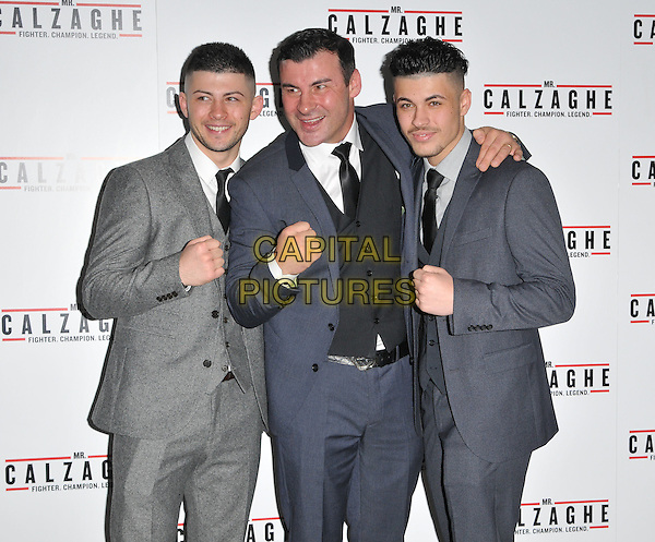 Joe Calzaghe Jr, Joe Calzaghe &amp; Connor Calzaghe attend the &quot;Mr Calzaghe&quot; gala film screening, The May Fair Hotel, Stratton Street, London, England, UK, on Wednesday 18 November 2015. <br /> CAP/CAN<br /> &copy;CAN/Capital Pictures