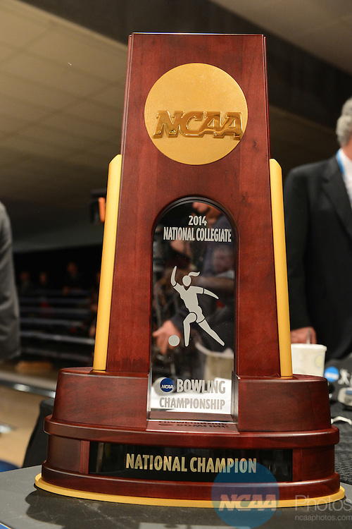 12 APR 2014:  A view of the championship trophy for the Division I Women's Bowling Championship held at Game of Wickliffe in Wickliffe, OH.  Sam Houston State University defeated Nebraska 4-2 for the national title.  Eric Mull/NCAA Photos