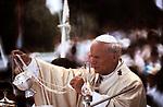 Pope John Paul II 1980s papal visit to UK 1982. Wembley arena.