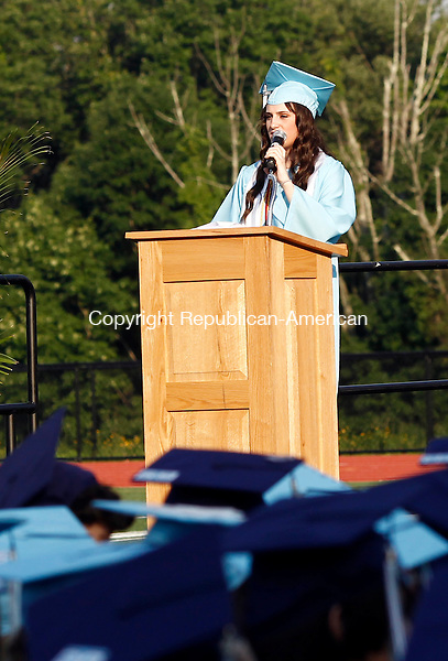 Oxford, CT- 17 June 2014-061714CM06-  Oxford High School graduate Giovanna McMahon president of the class of 2014, addresses classmates and audience members during commencement exercises at Oxford High School on Tuesday.    Christopher Massa Republican-American