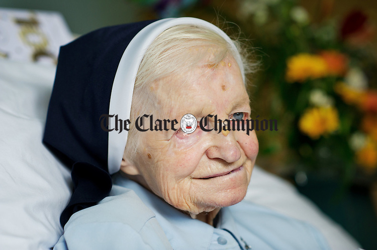 Sr Grace O Brien, originally from Crusheen and a now a resident at  Catherine McAuley House in Limerick, who celebrated her 100th birthday on January 12th. Photograph by John Kelly.