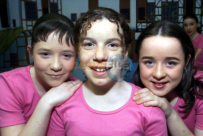 Louise Rafferty, Siobhan Collins and Ruth Carroll who took part in the Drogheda Children's Variety show in the parochial hall..Picture: Arthur Carron/Newsfile