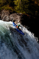 Matt Tidy (UK). Kayak downhill race in the Brandseth river. The Extremesport Week, Ekstremsportveko, is the worlds largest gathering of adrenalin junkies. In the small town of Voss enthusiasts in a varitety of extreme sports come togheter every summer to compete and play. Norway.  ©Fredrik Naumann/Felix Features.