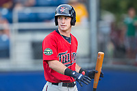 Brent Rooker (25) of the Elizabethton Twins walks back to the dugout after striking out against the Danville Braves at American Legion Post 325 Field on July 1, 2017 in Danville, Virginia.  The Twins defeated the Braves 7-4.  (Brian Westerholt/Four Seam Images)