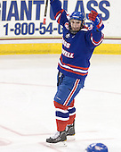 Matt Ferreira (Lowell - 17) celebrates Ickert's goal which gave Lowell a 2-1 lead midway through the second period. - The Boston College Eagles defeated the visiting University of Massachusetts-Lowell River Hawks 5-3 (EN) on Saturday, January 22, 2011, at Conte Forum in Chestnut Hill, Massachusetts.