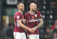 Aston Villa's Conor Hourihane celebrates scoring his sides third goal with Alan Hutton<br /> <br /> Photographer Mick Walker/CameraSport<br /> <br /> The EFL Sky Bet Championship - Derby County v Aston Villa - Saturday 10th November 2018 - Pride Park - Derby<br /> <br /> World Copyright &copy; 2018 CameraSport. All rights reserved. 43 Linden Ave. Countesthorpe. Leicester. England. LE8 5PG - Tel: +44 (0) 116 277 4147 - admin@camerasport.com - www.camerasport.com