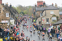 Picture by Allan McKenzie/SWpix.com - 01/05/2015 - Cycling - Tour de Yorkshire Stage 1 - Bridlington to Scarborough - Grosmont Station, Grosmont , England - The peloton climbs out of Grosmont.