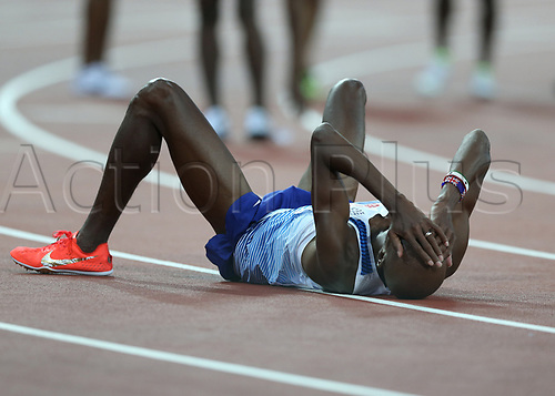 August 12th 2017, London Stadium, East London, England; IAAF World Championships, Day 9; Mo Farah of Great Britain on his knees in disappear as he finishes in 2nd place to Muktar Edris of Ethiopia in the 5000 metres men final