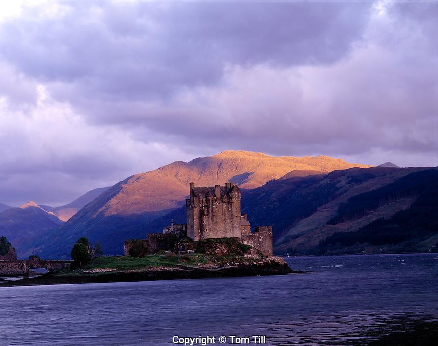 Eilean Donan Castle, Scottish Highlands, Scotland, UK  Originally built in 1230, rebuilt in 1912       Lochs Alsh, Long, and Duich