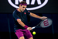 30th January 2020; Melbourne Park, Melbourne, Victoria, Australia; Australian Open Tennis, Day 11; Roger Federer of Switzerland returns the ball during the semifinals of the 2020 Australian Open on January 30 2020, at Melbourne Park in Melbourne, Australia. (Photo by Jason Heidrich/Icon Sportswire)
