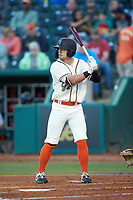 Brett Kinneman (27) of the Greensboro Grasshoppers at bat against the Hagerstown Suns at First National Bank Field on April 6, 2019 in Greensboro, North Carolina. The Suns defeated the Grasshoppers 6-5. (Brian Westerholt/Four Seam Images)