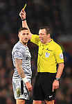 Michael Kightly of Burnley is shown a yellow card - Manchester United vs. Burnley - Barclay's Premier League - Old Trafford - Manchester - 11/02/2015 Pic Philip Oldham/Sportimage